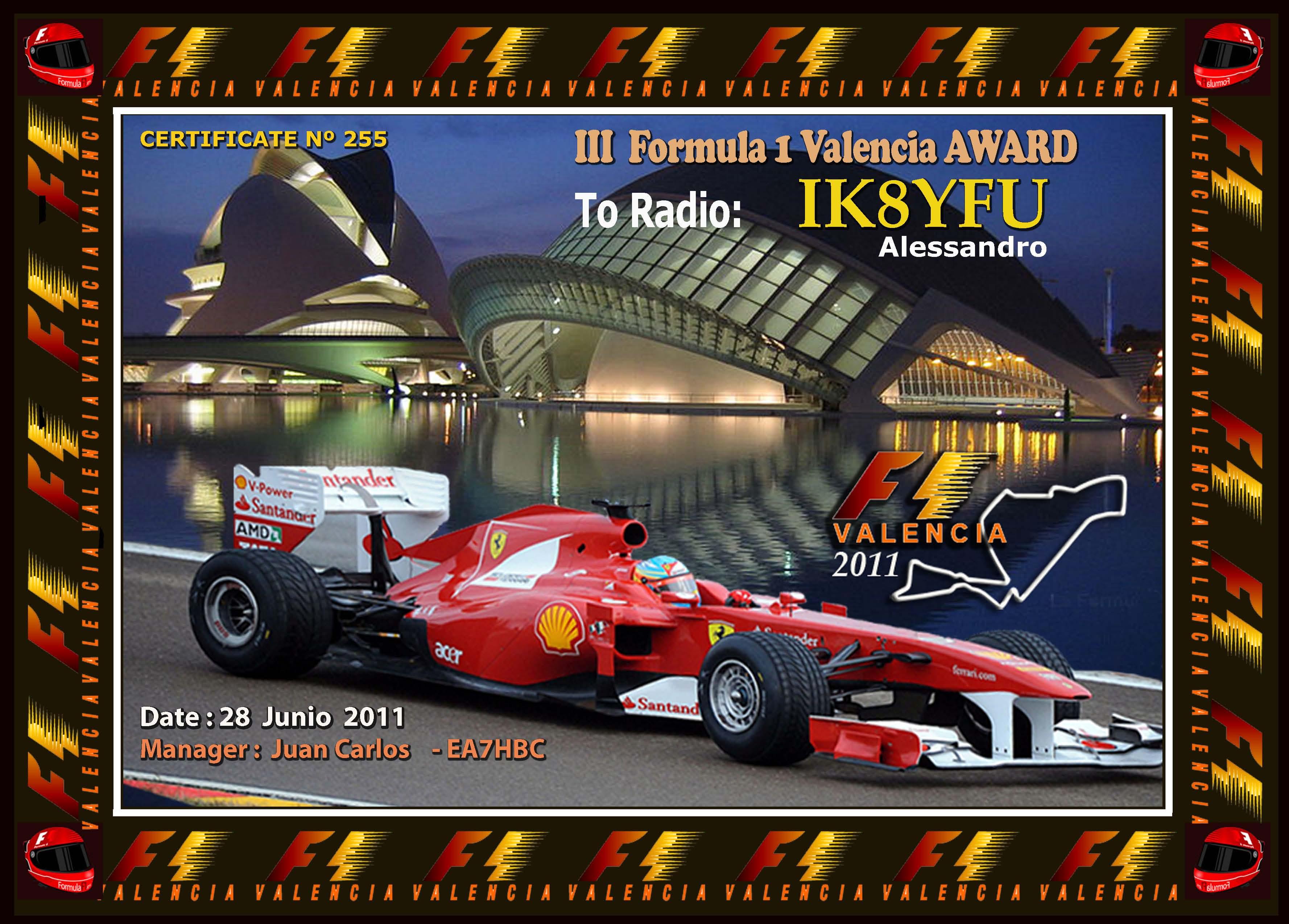 F1 Valencia 2011  AWARD